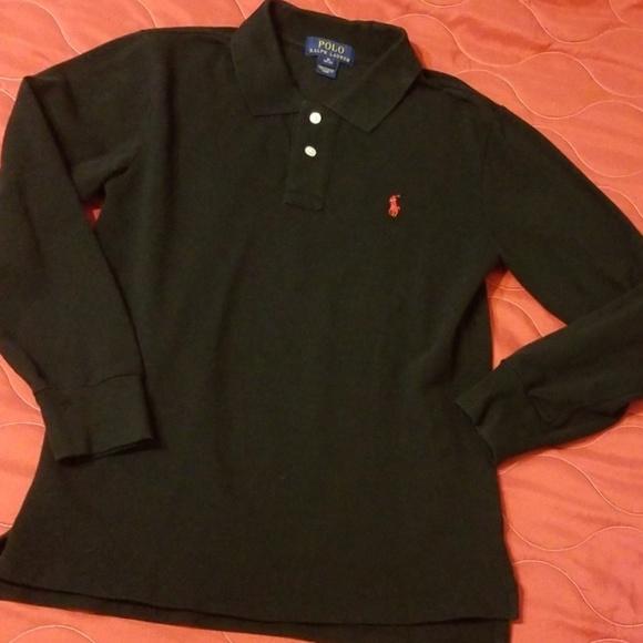 42efdaf4 Polo long sleeve shirt boys M 10-12 black